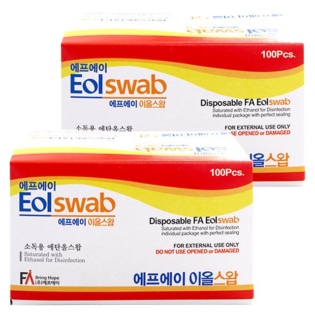 에프에이 이올스왑 일회용 알콜솜, 100매입, 2개