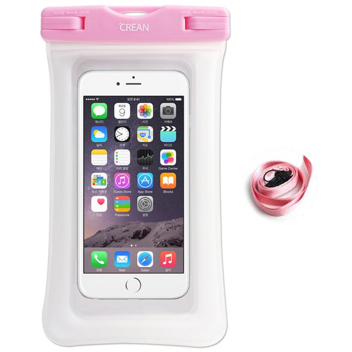 크레앙 물놀이용 스마트폰 에어쿠션 방수팩 CREAIRCUWPP, 핑크, 1개