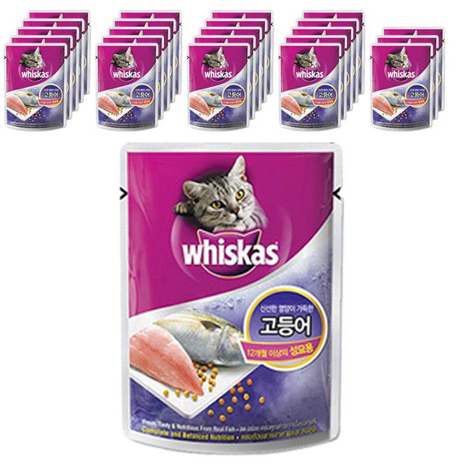 위스카스 고양이 주식 파우치 고등어, 85g, 24개입
