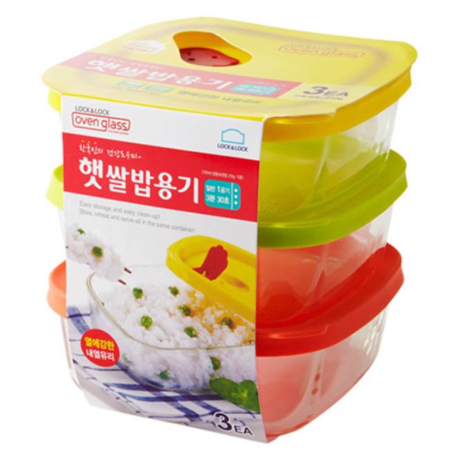 락앤락 오븐글라스 세트, 3개, 햇쌀밥용기 320ml