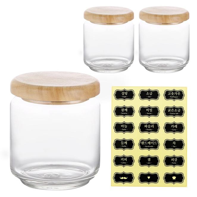 오션글라스 레터링 유리양념통 + 한글 스티커, 1세트, 양념통 500ml 3p + 한글스티커
