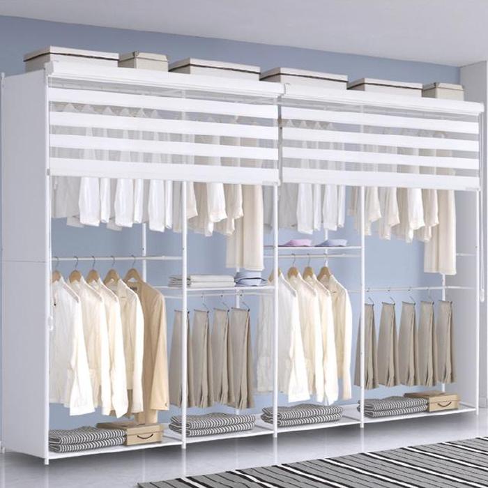 휴센 갤럭시 조합형 드레스룸 옷장 + 롤스크린 + 사이드측판 3130A, 크림화이트