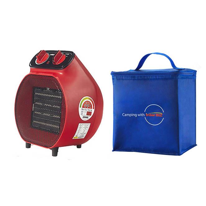 인터비즈 PTC 전기온풍기 캠핑겸용 + 전용가방, IB-704R, 레드