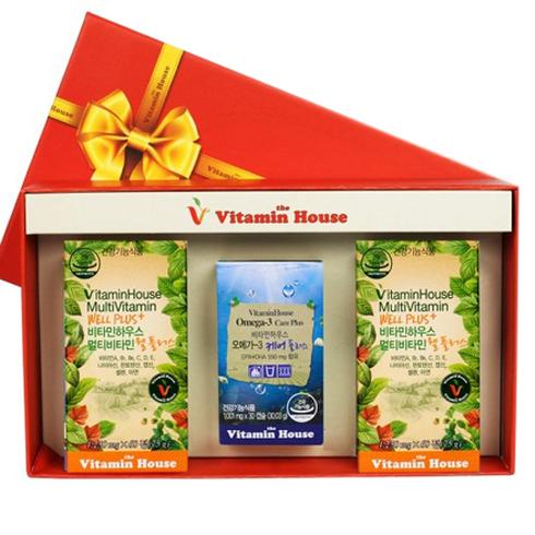 비타민하우스 멀티비타민 웰 플러스  오메가3 케어플러스 선물세트 멀티비타민 웰 플러스 75g  2개  오메가3 케어 플러스 3003g