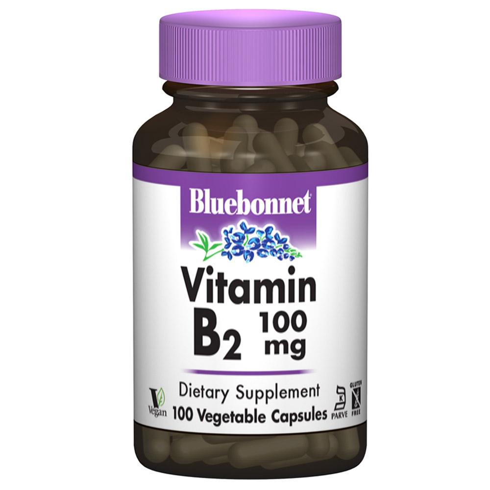 Bluebonnet 비타민 B-2 100 mg 베지터블 캡슐, 100개입, 1개