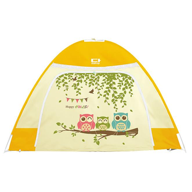 다샵 원터치 투명창 난방텐트 행복부엉이 옐로우 + 보관용 가방