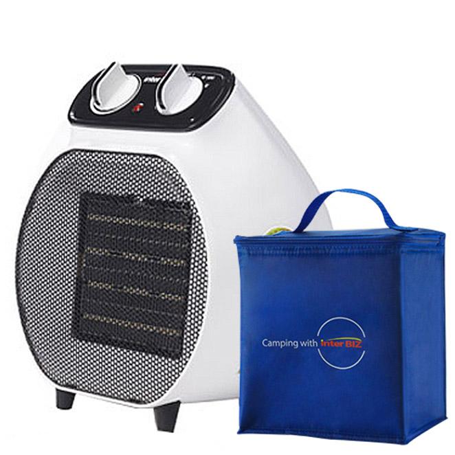인터비즈 PTC 전기온풍기 캠핑겸용 + 전용가방, BFB-704W, 화이트