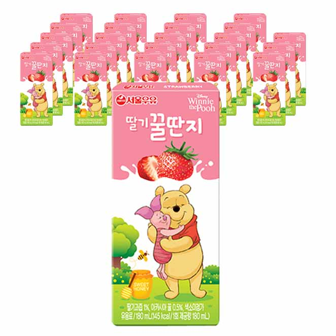 서울우유 딸기꿀딴지, 180ml, 24개