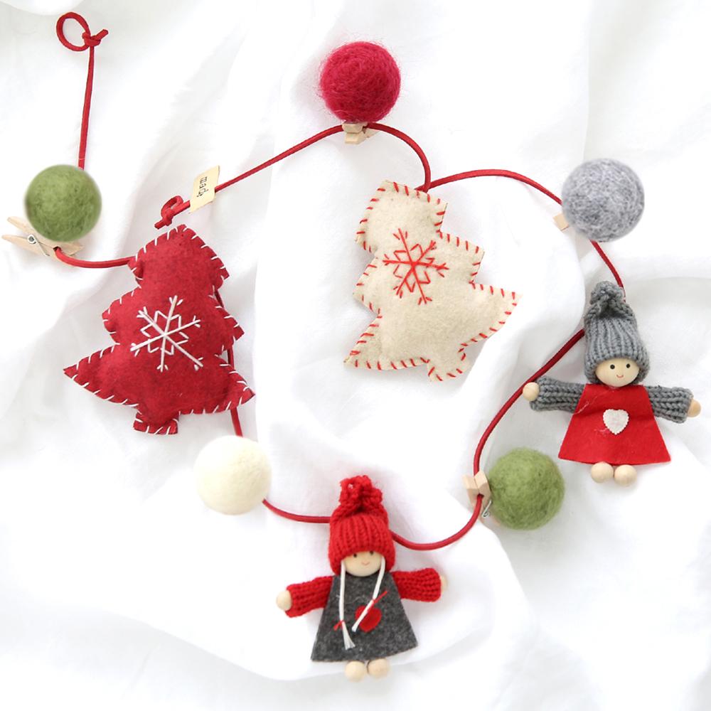 행복한마을 크리스마스 데코소품 미니돌 가랜드, 혼합 색상