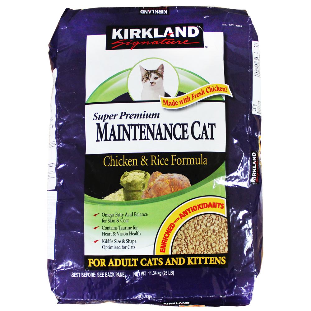커클랜드시그니춰 슈퍼 프리미엄 메인터넌스 치킨 앤 라이스 고양이 사료, 11.34kg, 1개