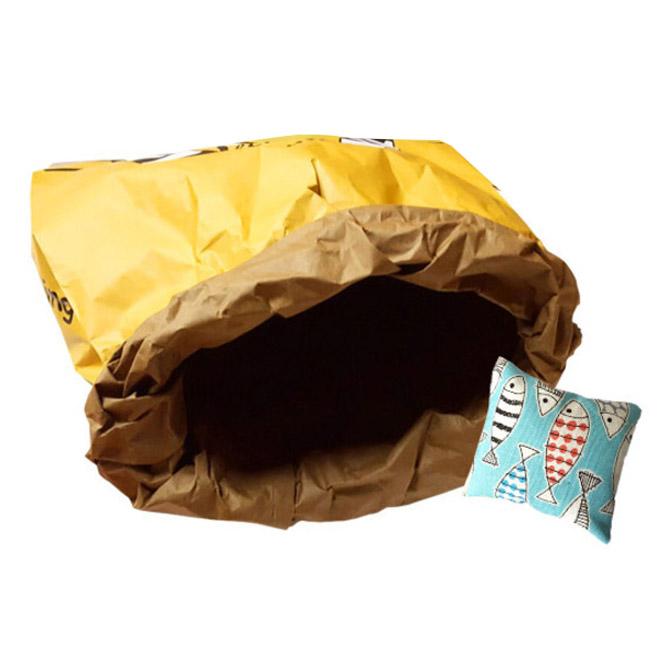 코코브라운 시크릿 페이퍼하우스 고양이주머니 + 캣닢쿠션 랜덤 발송, 블랙&옐로우, 1세트