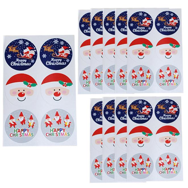 이홈베이킹 크리스마스 스티커 원형, 혼합 색상, 10개입