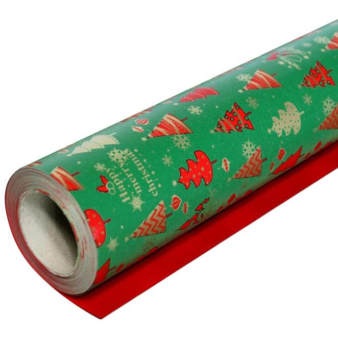 솔로몬샵 디자인랩 크리스마스 종이롤포장지, 트리 녹색, 1개