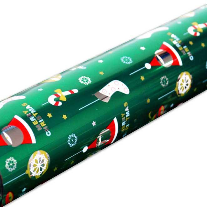솔로몬샵 디자인랩 크리스마스 비닐롤포장지, 산타 녹색, 1개