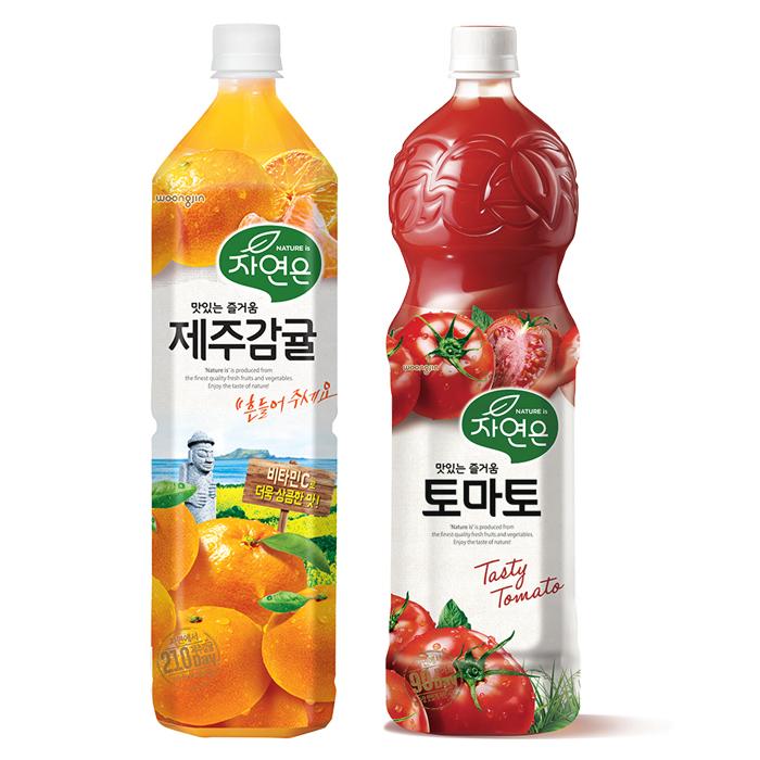 웅진 자연은 과일주스 제주감귤 + 토마토 세트, 1500ml, 2개