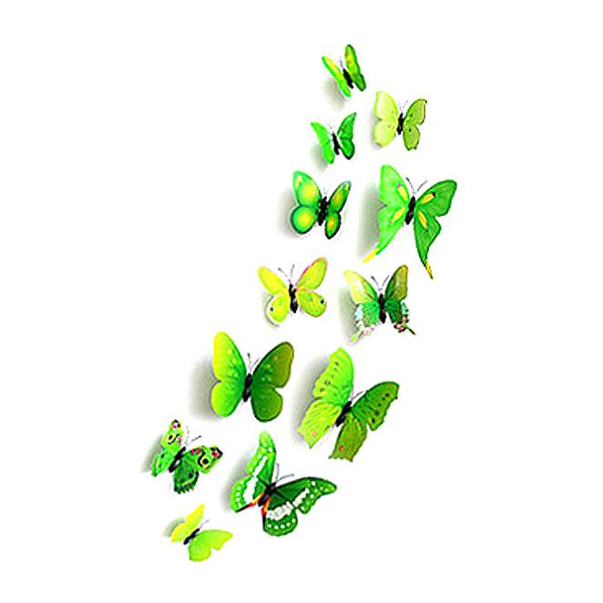 더이쁜 데코스티커 3D 패턴 나비 장식 12개 세트, 그린