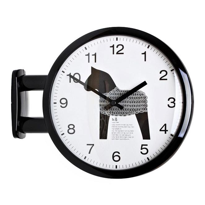 키다리 베스트 홀스 모던양면시계 N, 블랙