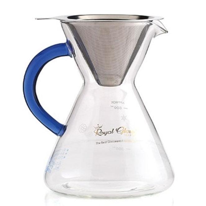 로얄스타 유리 커피 티 드리퍼 800ml, 혼합 색상, 1개