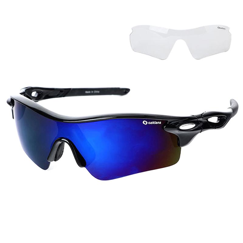 오클렌즈 스포츠 선글라스 프레임 + 편광 + 변색 렌즈 세트 Q210, 프레임(블랙), 편광렌즈(블루밀러)