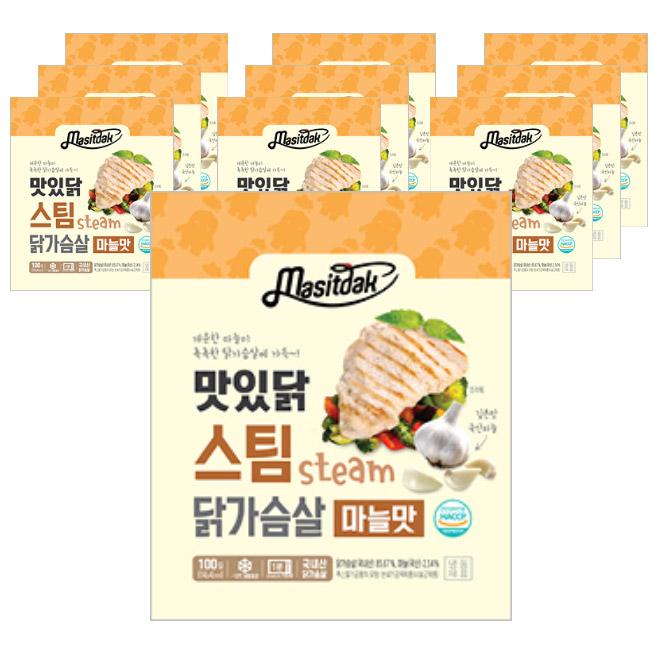 맛있닭 스팀 닭가슴살 마늘맛, 100g, 10팩