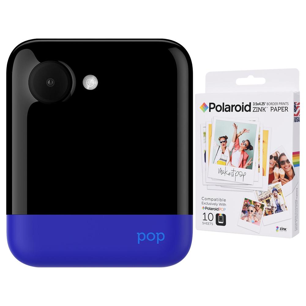폴라로이드 팝 즉석카메라 모바일 프린터 + 전용 인화지 10p, Blue, 1세트