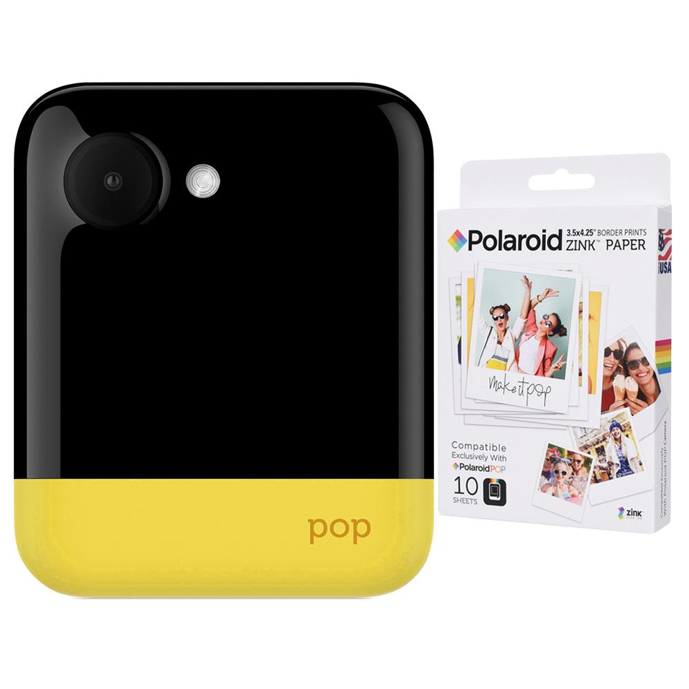 폴라로이드 팝 즉석카메라 모바일 프린터 + 전용 인화지 10p, Yellow, 1세트