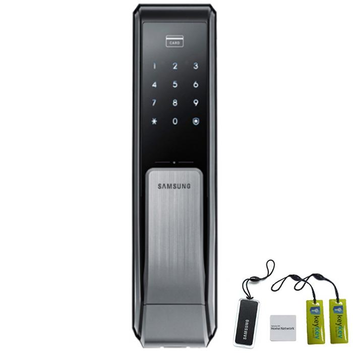 삼성SDS 스마트 디지털 푸시풀 손잡이 도어록 SHP-DP710 + 카드키 + 스마트키태그 + 걸이형 카드키 2p