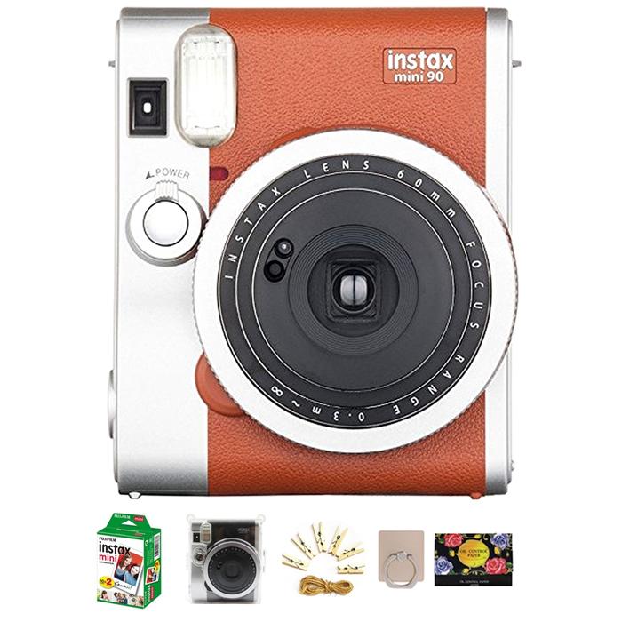 인스탁스 미니 90 즉석카메라 + 폴라케이스 세트, 1세트, 인스탁스 미니 90 브라운 카메라 + 기본 구성품 + 미니필름 20p + 폴라케이스 + 포토라인 + 스마트링 랜덤발송 + 기름종이 25p 랜덤발송
