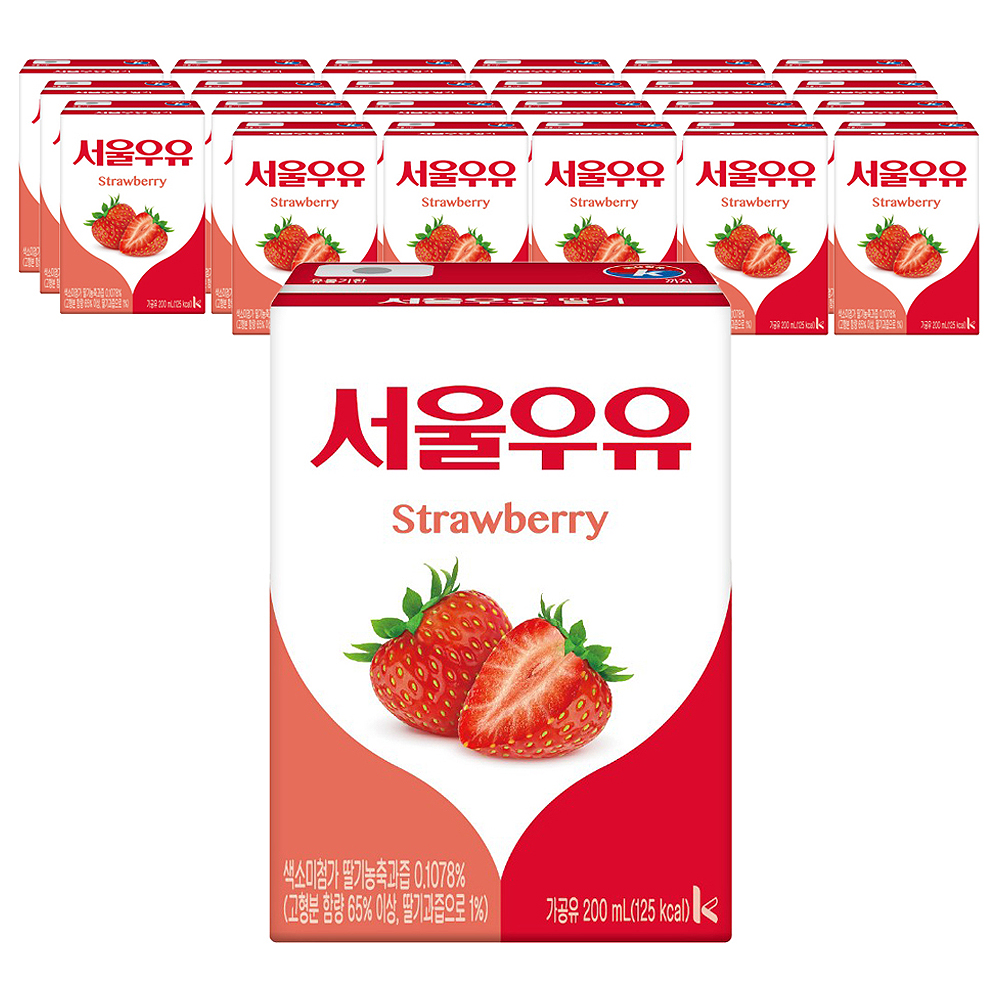 서울우유 멸균딸기우유200ml, 200ml, 24팩