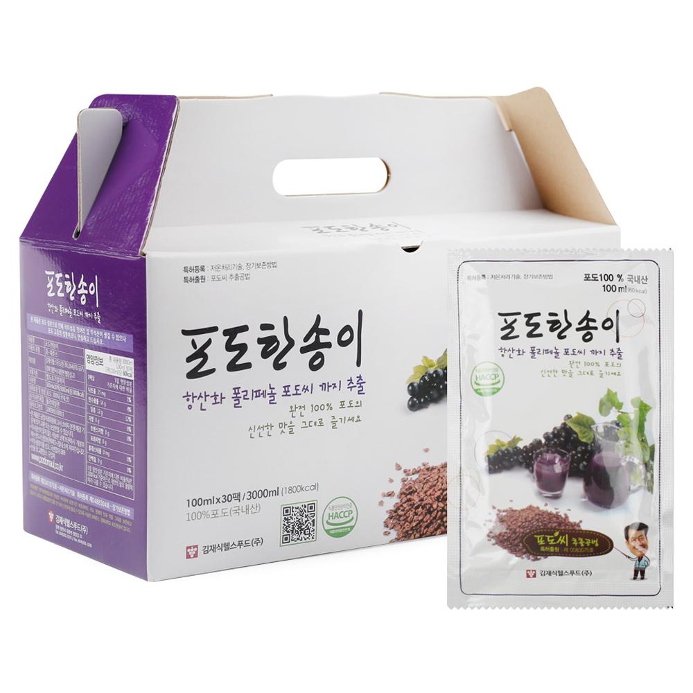 김재식헬스푸드 포도한송이 포도즙, 100ml, 30개