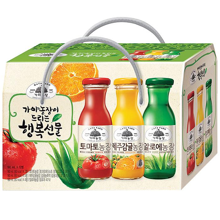 가야농장 행복음료 3종 선물세트, 180ml, 12병