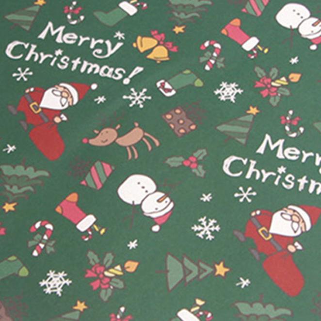 아이엔엠엔피 디자인 산타 아이콘 포장지, 그린, 10장