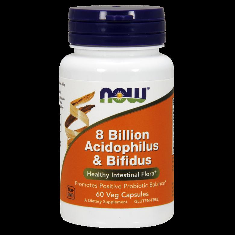 나우푸드 8 빌리언 아시도필러스 & 비피더스 유산균 베지 캡슐, 60개입, 1개