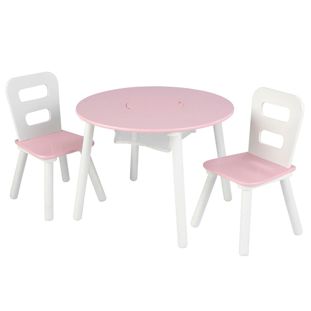 키드크래프트 라운드 스토리지 테이블 + 의자 2p 세트, 핑크 + 화이트