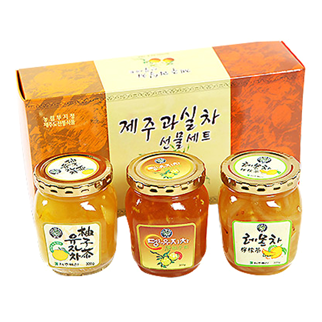 제주특산 과실차 선물세트, 유자차 300g + 레몬차 300g + 뎅유지차 300g, 1세트