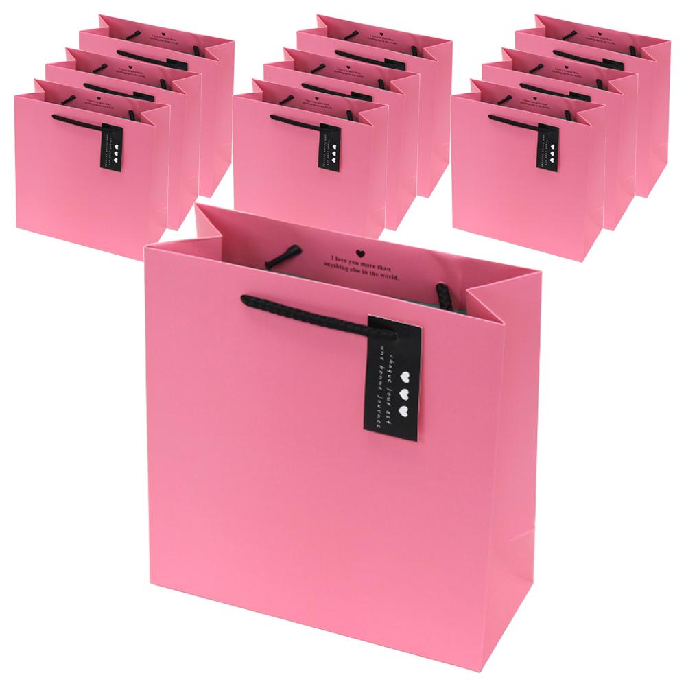 포포팬시 컬러팝 쇼핑백 10개입, 핑크