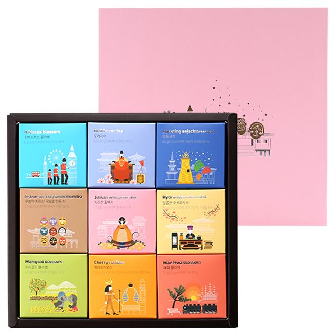 쌍계명차 월드티 컬렉션 선물세트 + 쇼핑백, 9종, 1세트