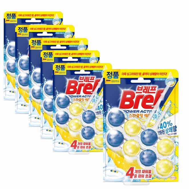 헨켈 브레프 파워액티브 변기세정제 레몬향, 100g, 6개