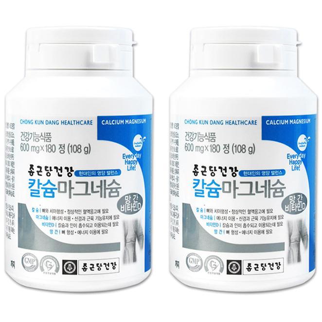 종근당건강 칼슘마그네슘, 180정, 2개