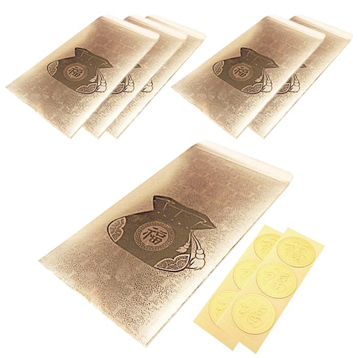 투영디자인 용돈봉투 6p + 스티커 6p, 골드(복주머니), 1세트