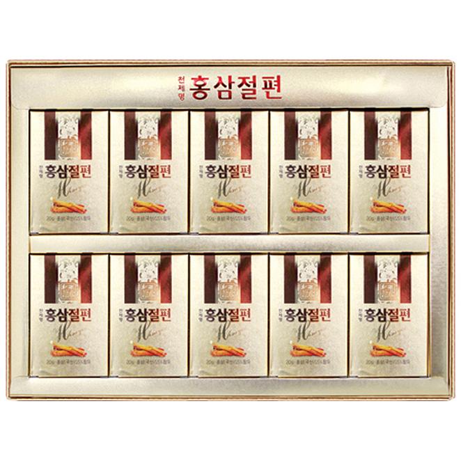 천제명홍삼 홍삼 절편 설 선물세트 + 쇼핑백, 20g, 10개입