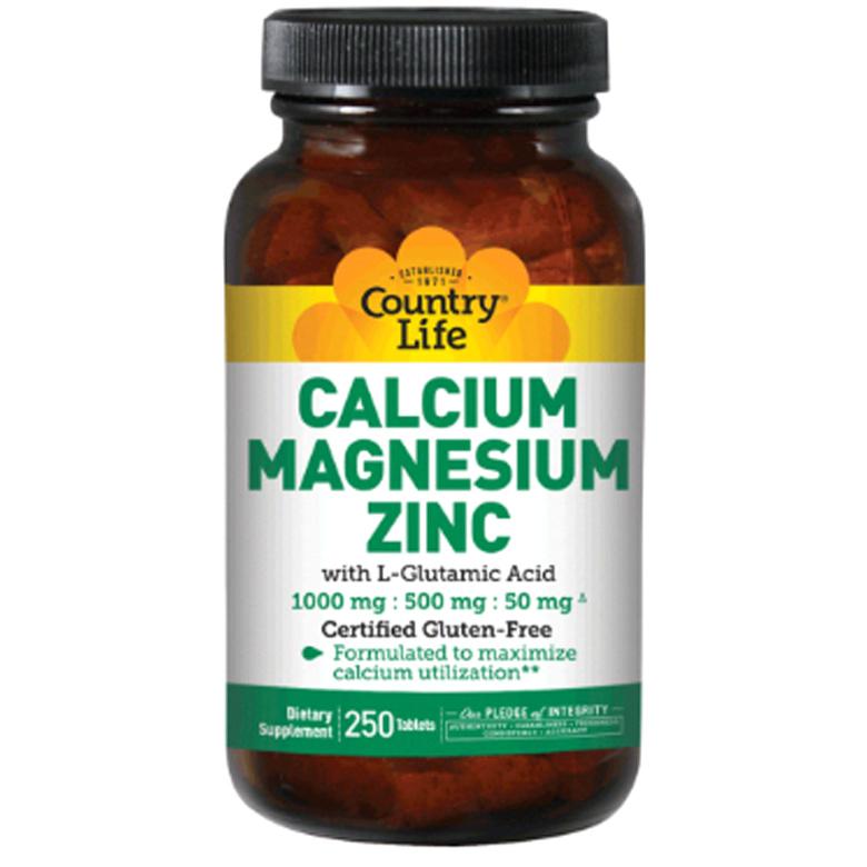 Country Life Vitamins 칼슘 1000 mg 마그네슘 500 mg 아연 50 mg with L-글루타민산 100 mg 타블렛, 250개입, 1개