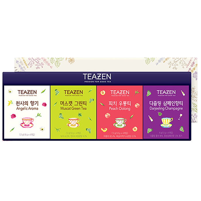 티젠 프리미엄 블렌딩 티 3호 선물세트, 천사의 향기 + 머스캣 그린티 + 피치 우롱티 + 다즐링 샴페인향티, 1세트
