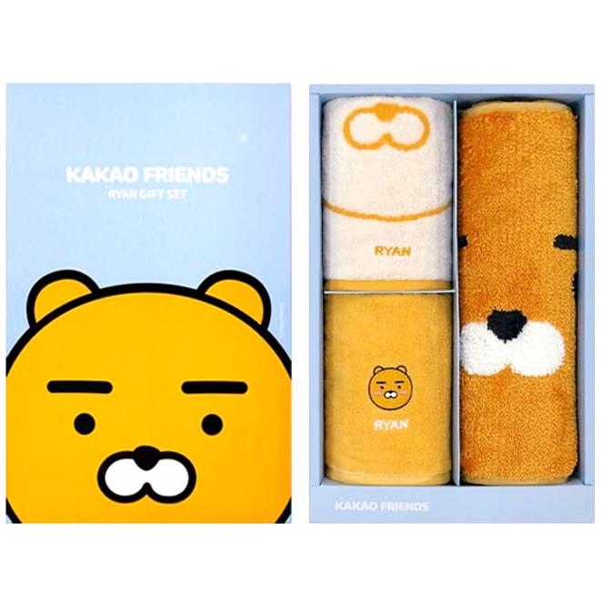카카오프렌즈 세면타월 2p + 쟈가드매트 기프트세트, 라이언, 1세트