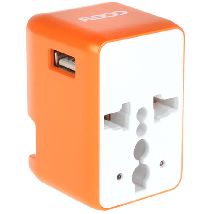 코시 와이즈 USB 여행용 아답터 오렌지, 1