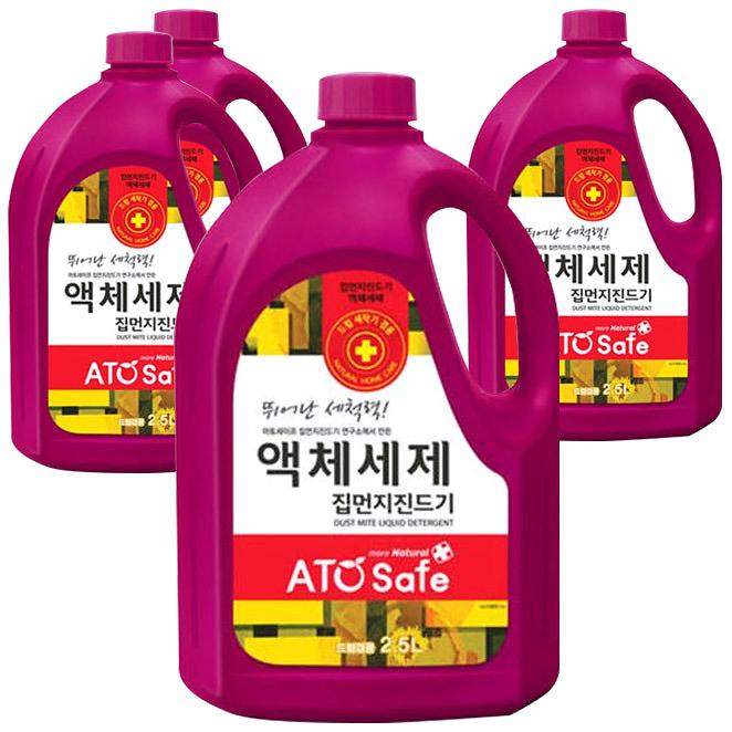 아토세이프 드럼겸용 집먼지진드기 세탁세제, 4개, 2.5L