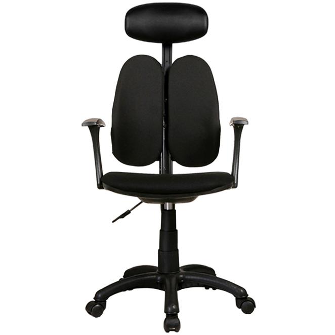 체어클럽 G플러스백 B형 헤더형 패브릭 학생/사무용 의자, 블랙