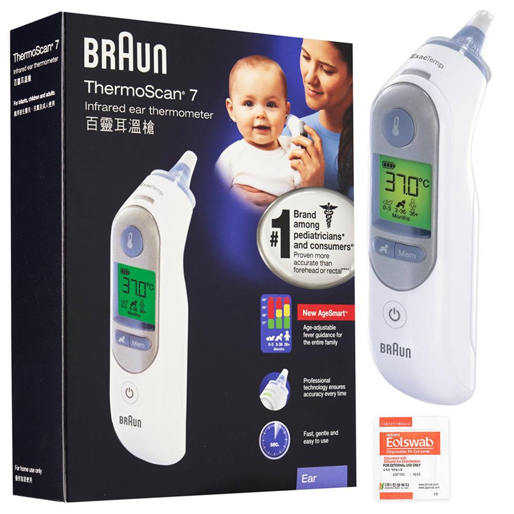 BRAUN 귀 적외선 체온계 화이트 IRT6520 + 알콜스왑, 1개