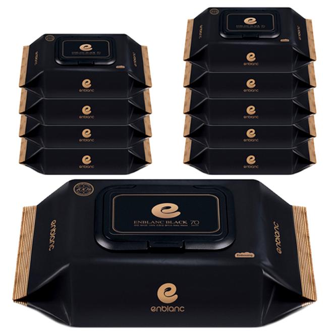 앙블랑 프리미엄 블랙 아기물티슈 캡형, 70매, 10팩
