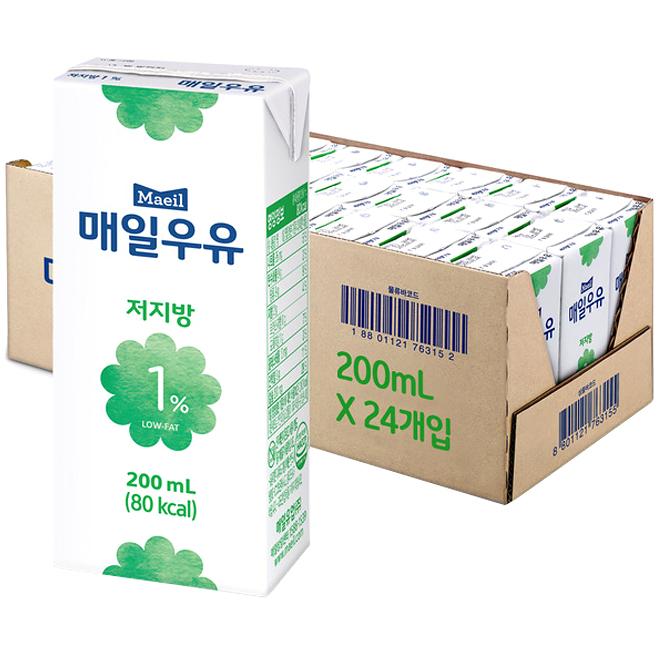 매일유업 저지방 1% 멸균 우유, 200ml, 24팩